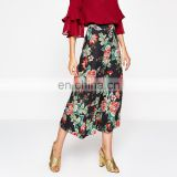 Digital printed elastic waist wide leg floral print trousers pants