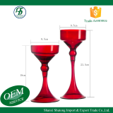 Hourglass style long stemmed red glass wedding  candle holder