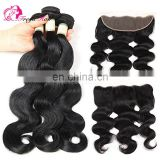 Wholesale Virgin Brazilian Sew In Human Hair Extensions body wave human hair lace frontal with bundles