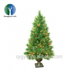 hot selling 100cm mini christmas tree lights colorful light metal base oem pine outdoor christmas decor