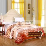 High quality flannel travel sleeping blanket orange leaves new design adults thick warm blanket