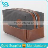 Fashion Travel Toilet Bag Tan Leather Trim Waxed Canvas Toilet Bag Men's Shaving Toilet Bag