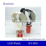 Mirror face led watch for young women with silicone band, roll ball led lights,alloy watch case