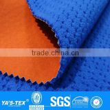 3 layers blue orange polar fleece boned stretch waterproof polyester spandex fabric for outdoor jacket