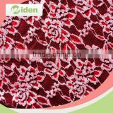 Free sample available bright red color net lace cotton and nylon embroidery lace fabric                                                                                                         Supplier's Choice