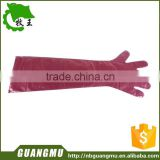 Long Size Disposable PE Gloves with Red Color