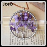 Hot Sale Natural Gemstone Chips Life of Tree Pendant Wire Wrap Charm Jewelry SCC0355