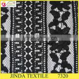 2016 High Quality Nylon Cotton Black Rhinestones Cord Lace Fabric for dress making