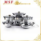MSF-3020 12pcs stainless steel cookware set heat resistant black bakelite handles golden plating safeguards