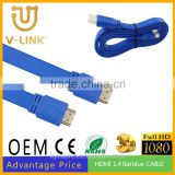 Factory price blue flat HDMI Cable , high data transfer speed and quality HDMI m/m 1.4 cable for computer/HDTV/MONITOR/PROJECTOR