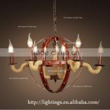 Zhongshan vintage italian chandelier style french horn lamp hemp rope and rustic 8 lights metal chandelier for hotel