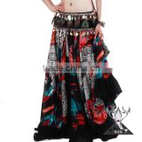 Black Carnival Costumes Egyptian With Floral Prints , Bohemian Gypsy Skirt