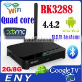 RK3288 Quad Core RAM 2GB KODI 802.11b/g/n wifi HD1080P flash player android smart tv box multimedia player android4.4 tv box