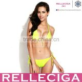 2016 RELLECIGA Neon Yellow Push-up Triangle Top Swimwear with Adjustable Halter Strap & Brazilian Cut Scr