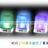 Plastic Colorful LED Night Light Digital Alarm Clock Desktop Pen Holder