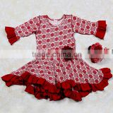 Wholesale girl thanksgiving outfit party birthday dress for western girl rose red flower kids maxi dress