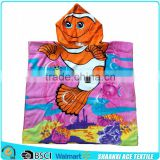 Ocean view lovely fish velour printed magic baby hooded towel custom design baby hooded towel