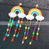 South Korea Bangkok Jewelry Wholesale Party Gift for Bar Pub DJ Cute Tassels Beads Rainbow Earrings