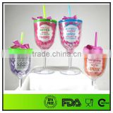 Candy color wine glass sippy cup with pretty bowknot
