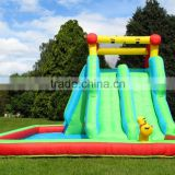 Outside used backyard inflatable water slide with a pool and climbing slide for childrens garden