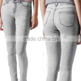 2014 Jeans manufacturers china wholesale grey denim pants fashion women ripped boyfriend jeans