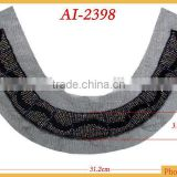 Fashion crystal rocailles and black bugles beaded neck trim AI-2398