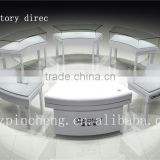 INquiry about china supplier custom wooden jewelry showcase display cabinet and curved glass jewelry display counter