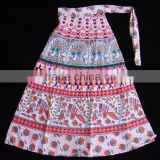 Indian HIPPIE Beach Fashion COTTON screen PRINT WRAP AROUND SARONG Blue SKIRT