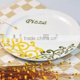 Cearmic Pizza Plate Set, Porcelain with elegance Decal