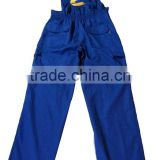Mens custom royal blue 65% polyester 35% cotton embroidered with multi pockets adjustable straps working uniform bib pants