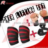 HEAVY DUTY KNEE WRIST WRAPS POWERLIFTING/BODYBUILDING GY/weight lifting Knee Wrap// RC- Fitness Power Lifting Knee Wraps - Pair