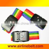 Top classic rainbow baggage strap with TSA password lock