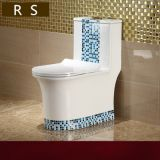 Chaozhou manufacturer Sanitary ware ceramic new design blue color siphonic one piece toilet wc