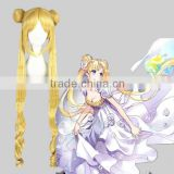 High Quality100cm Long Curly Sailor Moon Wig Blonde Synthetic Cosplay wig Anime Cosplay Costume Hair Wig Party Wig
