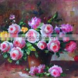 China Big Wholesale in Shenzhen painted pictures of flowers Handmade Fading Rose Painting Indoor Wall Deocoration flower buyer