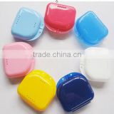 Promotional top quality orthodontic multi sizes and colors plastic false teeth box / plastic denture box