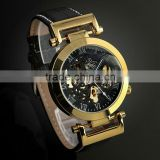 ESS Luxury Gold Case Black Skeleton Dial Mechanical Watch