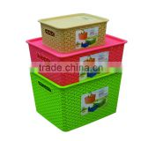 multi-using plastic storage basket with plate cover lid