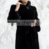rex14054 lady classic rex rabbit fur coat black stand collar