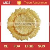 Decoration reef flora gold glass charger plates for wedding                                                                         Quality Choice