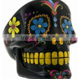 Black spray color hand painting skull shaped ashtray blown manufacture home and office decor