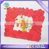 many red heart love souvenir soft pvc rubber wedding decorative table photo frame