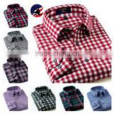 Long sleeve button down check men flannel shirt,Custom men long sleeve red plaid shirt flannel shirt