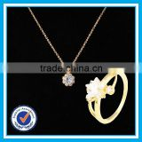 Artificial crystal gold ring necklace 2pcs set moroccan jewelery