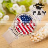 Stock!Wholesale China Express Hot Sale Watch Simple Design Christmas Birthday Gift American Flag Plastic Watches Made in China