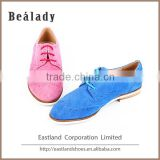 (E1725-X5) Fashion sheep suede leather lace-up lady shoe welt flat smart casual sneakers with laser hole
