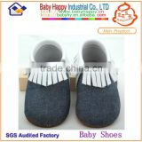 New Design Toddler Footwear Upper Denim Casual Moccasins Baby Nates Shoes
