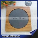 Superior wooden service tray slate stone round dinner plate