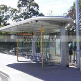 Modern Style Metal Bus Stop Shelter with Electronic Display Tempered Glass in High Quality for City Construction