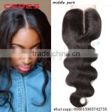 Ceres Hair 130% Density Middle Part u part Body Wave virgin hair bundles with Free Parting Lace Closure                                                                         Quality Choice